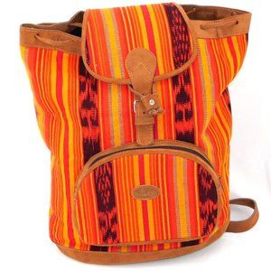 Guatamalan Native Huipil and Leather Backpack